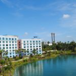 Guesthouses along the waterway at Sapphire Falls Resort
